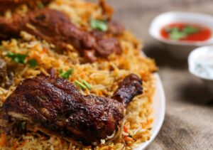 plate of chicken and rice