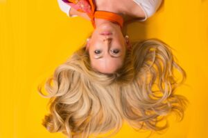 upside down woman with nice hair