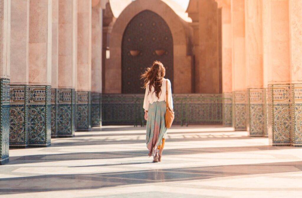 tourist woman walking in morocco