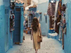 tourist walking on a Moroccan street