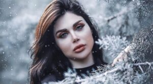 beautiful woman under the snow
